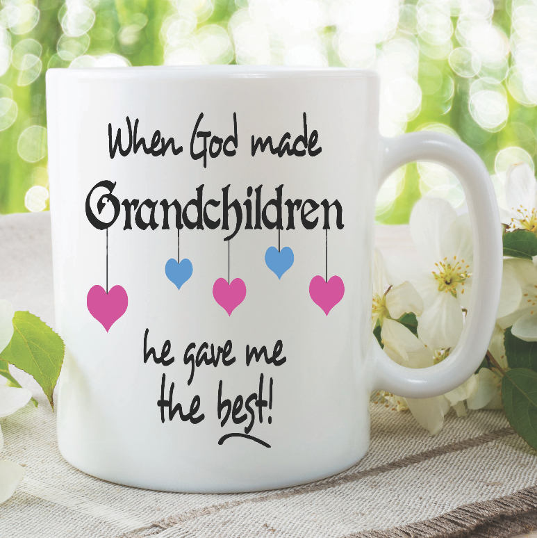 Printed Ceramic Coffee Tea Mugs When God Made Grandchildren He Gave Me The Best Mothers Day Birthday Gift Grandma Nana Cups WSDMUG910