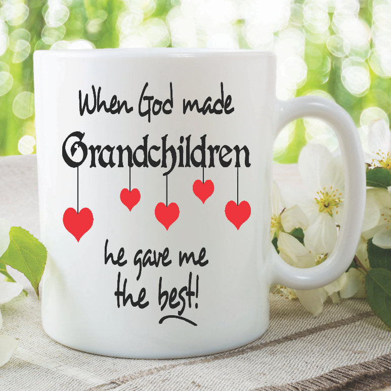 Printed Ceramic Coffee Tea Mugs When God Made Grandchildren He Gave Me The Best Mothers Day Birthday Gift Grandma Grandad Cups WSDMUG913