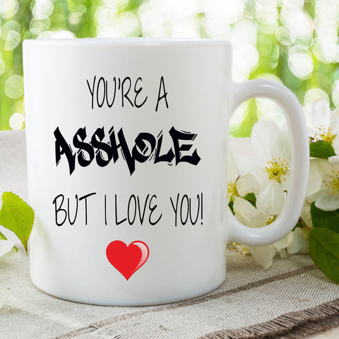 You're An Asshole But I Love You Mug Gift For Him Or Her Present Birthday Gifts Valentines Christmas Husband Gifts Boyfriend Cup WSDMUG714