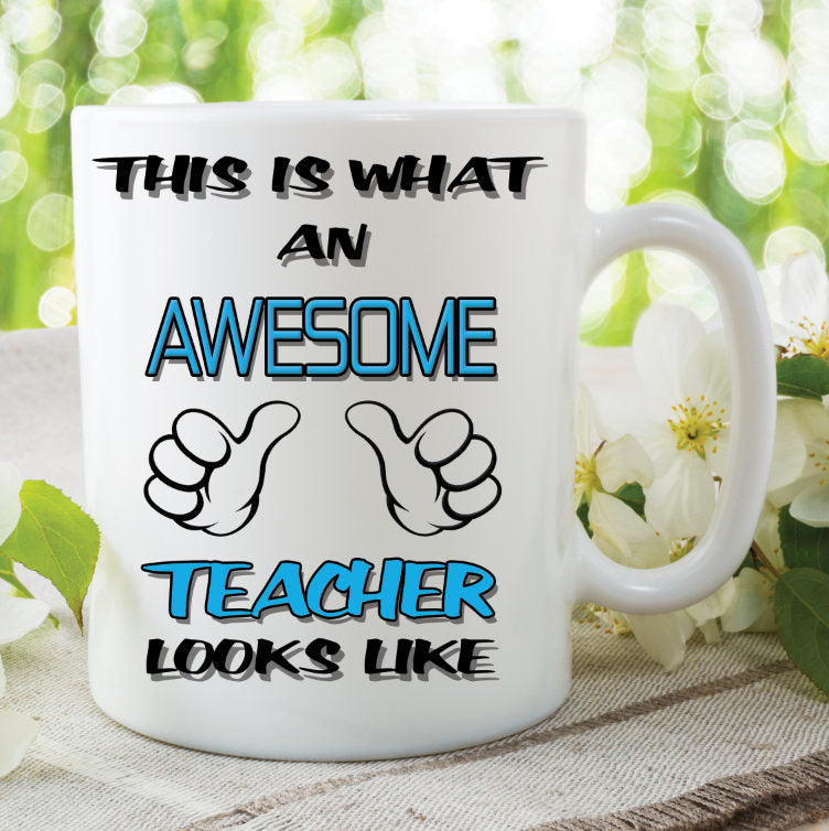Teacher Mug This Is What An Awesome Teacher Looks Like Novelty Birthday Xmas Gift Coffee Tea Present Ceramic Mug Work Cup WSDMUG776