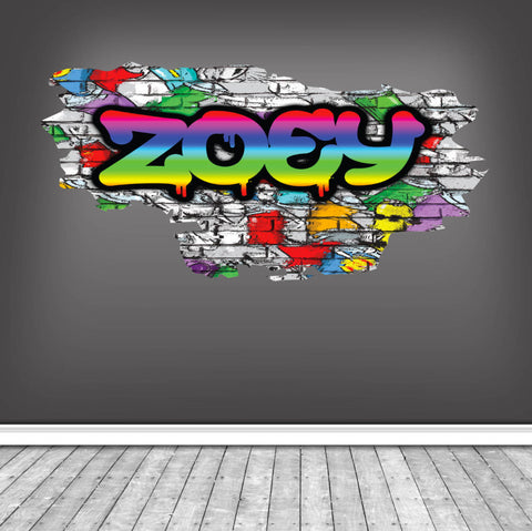 Personalised Full Multi Colour Custom Graffiti Name Cracked Wall Art Stickers Decor For Kids Vinyl Decals Murals Graphics Prints WSDPGN22