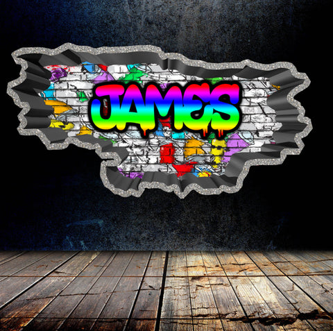 Personalised Full Multi Colour Custom Graffiti Name Cracked Wall Art Stickers Decor For Kids Vinyl Decals Murals Graphics Prints WSDPGN23