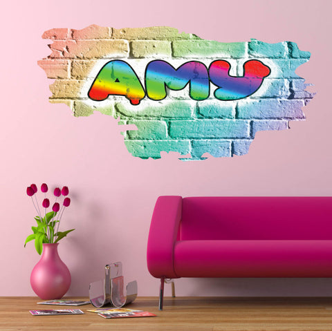 Personalised Full Multi Colour Custom Graffiti Name Cracked Wall Art Stickers Decor For Kids Vinyl Decals Murals Graphics Prints WSDPGN27
