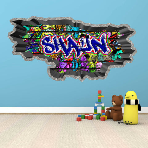 Personalised Full Multi Colour Custom Graffiti Name Cracked Wall Art Stickers Decor For Kids Vinyl Decals Murals Graphics Prints WSDPGN32