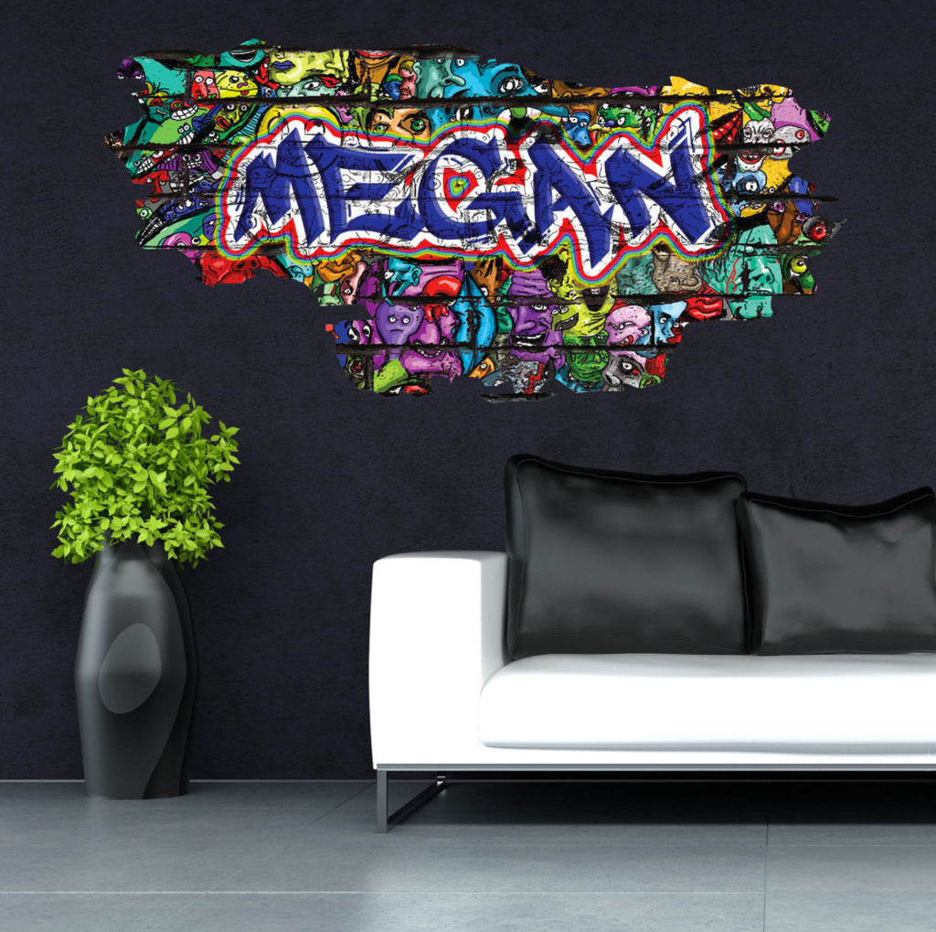 Personalised Full Multi Colour Custom Graffiti Name Cracked Wall Art Stickers Decor For Kids Vinyl Decals Murals Graphics Prints WSDPGN34