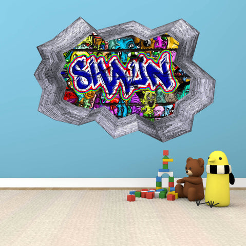 Personalised Full Multi Colour Custom Graffiti Name Cracked Wall Art Stickers Decor For Kids Vinyl Decals Murals Graphics Prints WSDPGN35