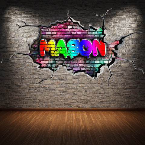 Personalised Full Multi Colour Custom Graffiti Name Cracked Wall Art Stickers Decor For Kids Vinyl Decals Murals Graphics Prints WSDPGN39