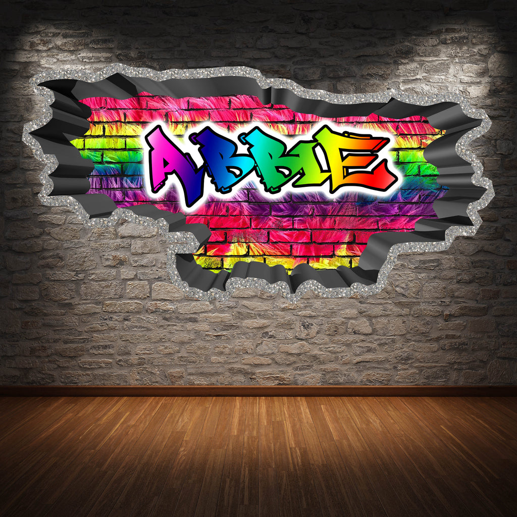 Personalised Full Multi Colour Custom Graffiti Name Cracked Wall Art Stickers Decor For Kids Vinyl Decals Murals Graphics Prints WSDPGN43