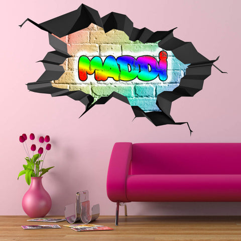 Personalised Full Multi Colour Custom Graffiti Name Cracked Wall Art Stickers Decor For Kids Vinyl Decals Murals Graphics Prints WSDPGN26