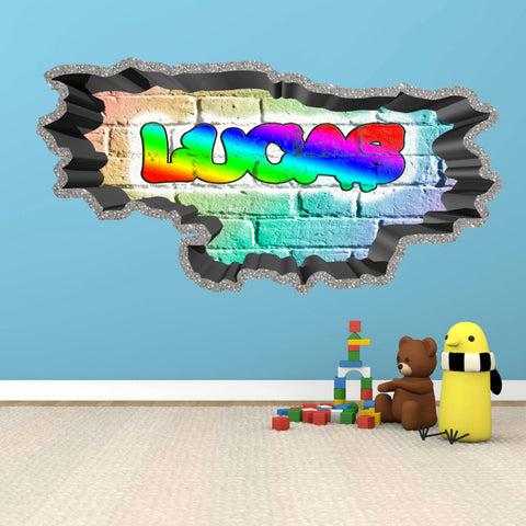 Personalised Full Multi Colour Custom Graffiti Name Cracked Wall Art Stickers Decor For Kids Vinyl Decals Murals Graphics Prints WSDPGN28