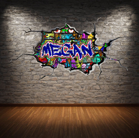 Personalised Full Multi Colour Custom Graffiti Name Cracked Wall Art Stickers Decor For Kids Vinyl Decals Murals Graphics Prints WSDPGN33