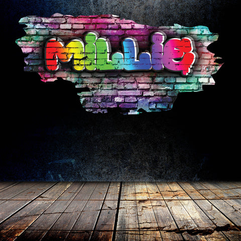 Personalised Full Multi Colour Custom Graffiti Name Cracked Wall Art Stickers Decor For Kids Vinyl Decals Murals Graphics Prints WSDPGN37