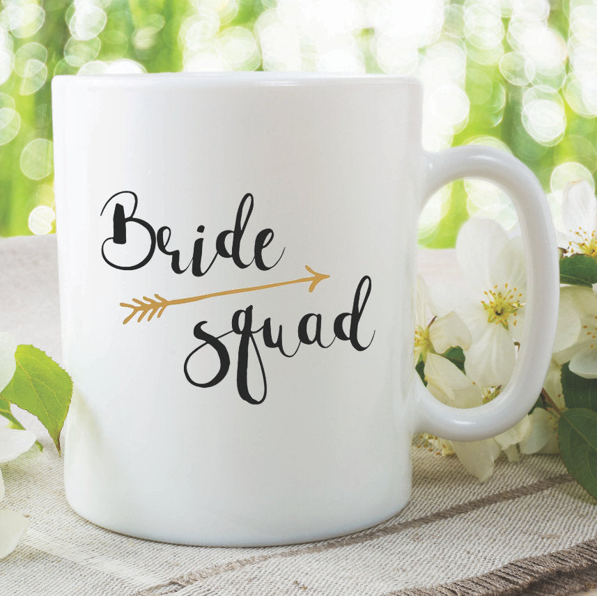 Bride Squad Mug Bachelorette Party Hen Do Gifts Best Friends Bride To Be Party Engagement Novelty Photo Props Wedding Marriage WSDMUG967