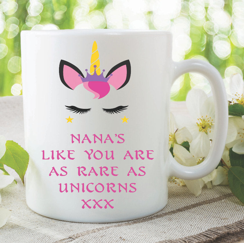 Unicorn Mug Nana's Like You Are As Rare As Unicorns Gift For Nana Mothers Day Gift Birthday Gift Christmas Coffee Tea Ceramic Mugs WSDMUG981