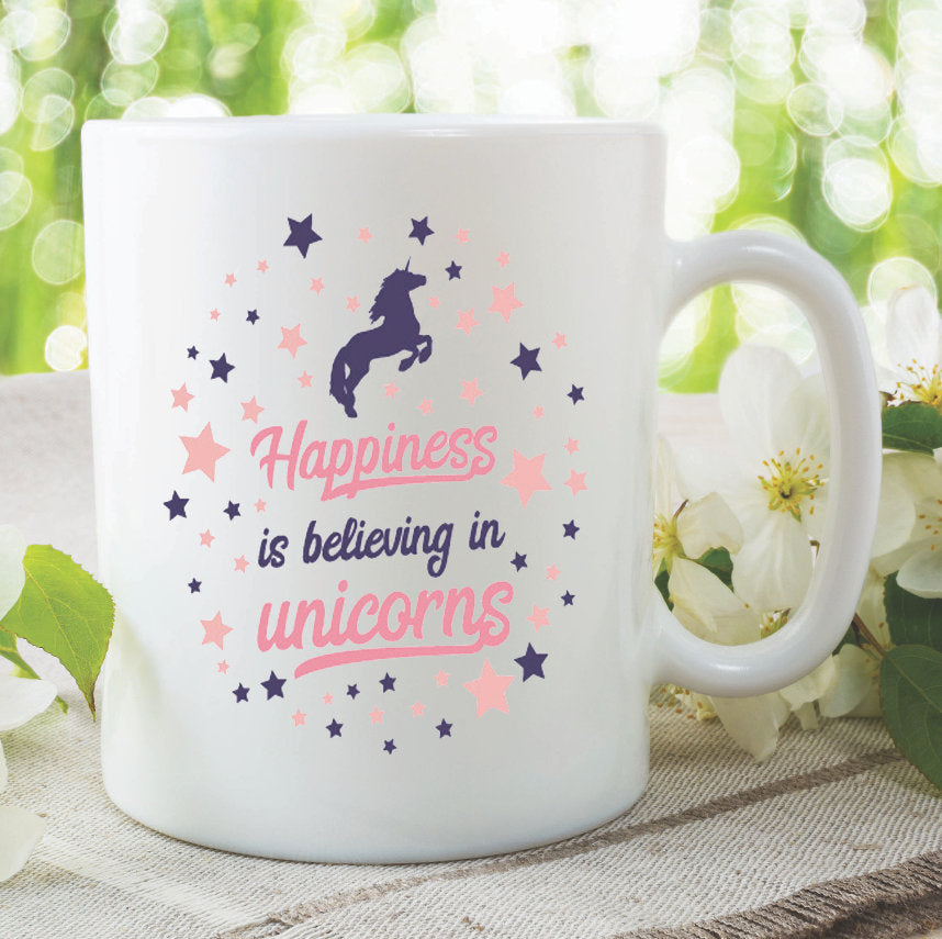 Unicorn Mug Happiness Is Believing In Unicorns Best Friend Daughter Mothers Day Birthday Gift Present Funny Novelty Tea Cup WSDMUG1002