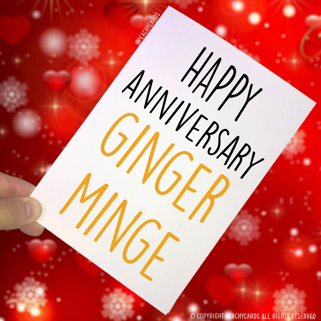 Anniversary Cards, Happy Anniversary Ginger Minge, Best Friend Card, Anniversary Greeting Card, Funny Cards, Novelty Cards, Funny Cards PC44