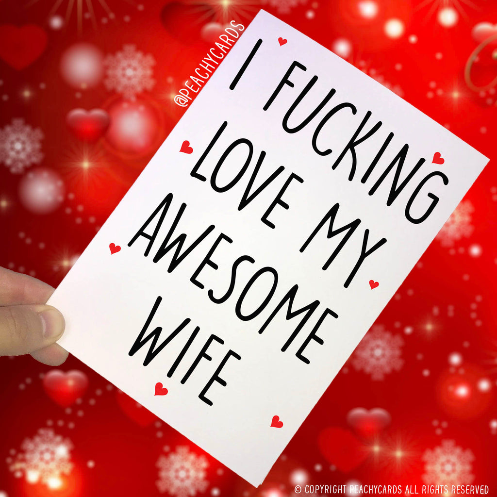 Anniversary Cards, I F*cking Love My Awesome Husband, Husband Cards Novelty Card Funny Cards Birthday Cards Valentines Cards PC175