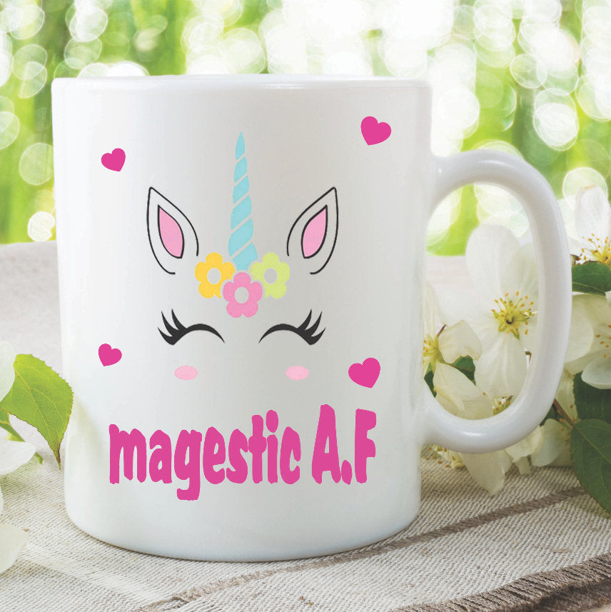 Ceramic Printed Mugs Unicorn Majestic A.F Best Friend Adult Humour Birthday Gift Present Christmas Funny Novelty Work Tea Cup WSDMUG975
