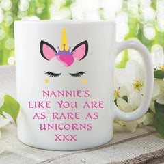 Unicorn Mug Nannie's Like You Are As Rare As Unicorns Gift For Nannie Mothers Day Birthday Gift Christmas Coffee Tea Ceramic Mug WSDMUG984