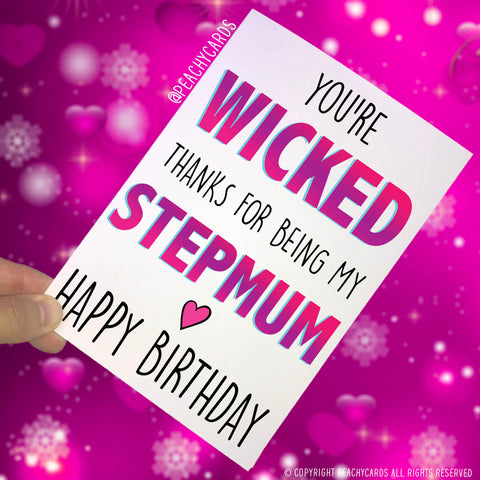 Greeting cards peachy cards stepmum birthday cards greeting cards gift for stepmum youre wicked thanks for being my m4hsunfo