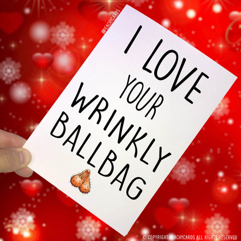 Anniversary Cards, I Love Your Wrinkly Ball Bag, Boyfriend Card, Christmas Greeting Card, Funny Cards Novelty Cards Birthday Joke Cards PC49
