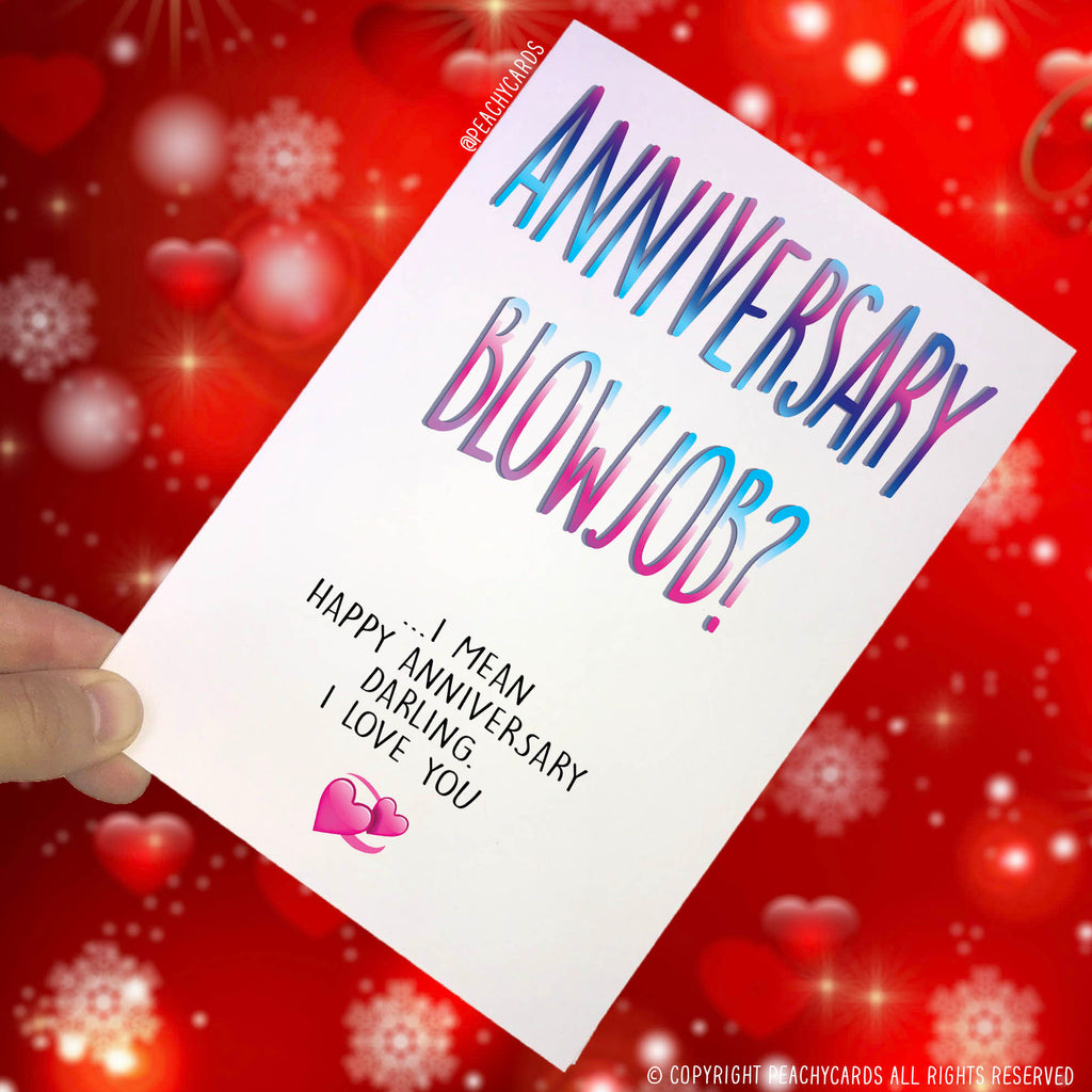Anniversary Cards, Card For Wife, Funny Cards, Novelty Cards, Rude Cards Anniversary Blowjob Card Celebration Card I Love You Cards Fun PC94