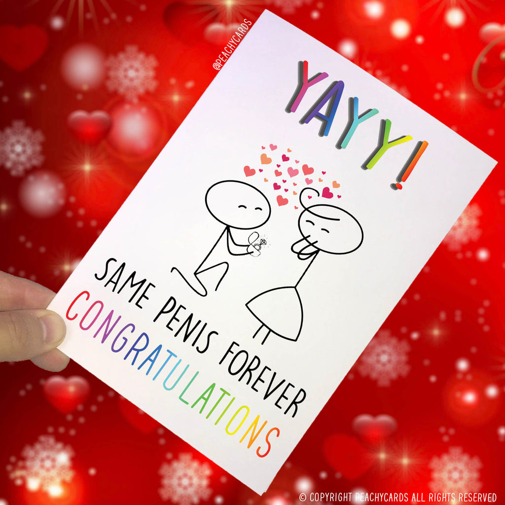 Engagement Cards, Celebration Card, Funny Card, Novelty Cards Adult Humour Cards Same Penis Forever Friend Card Marriage Card Congrats PC110