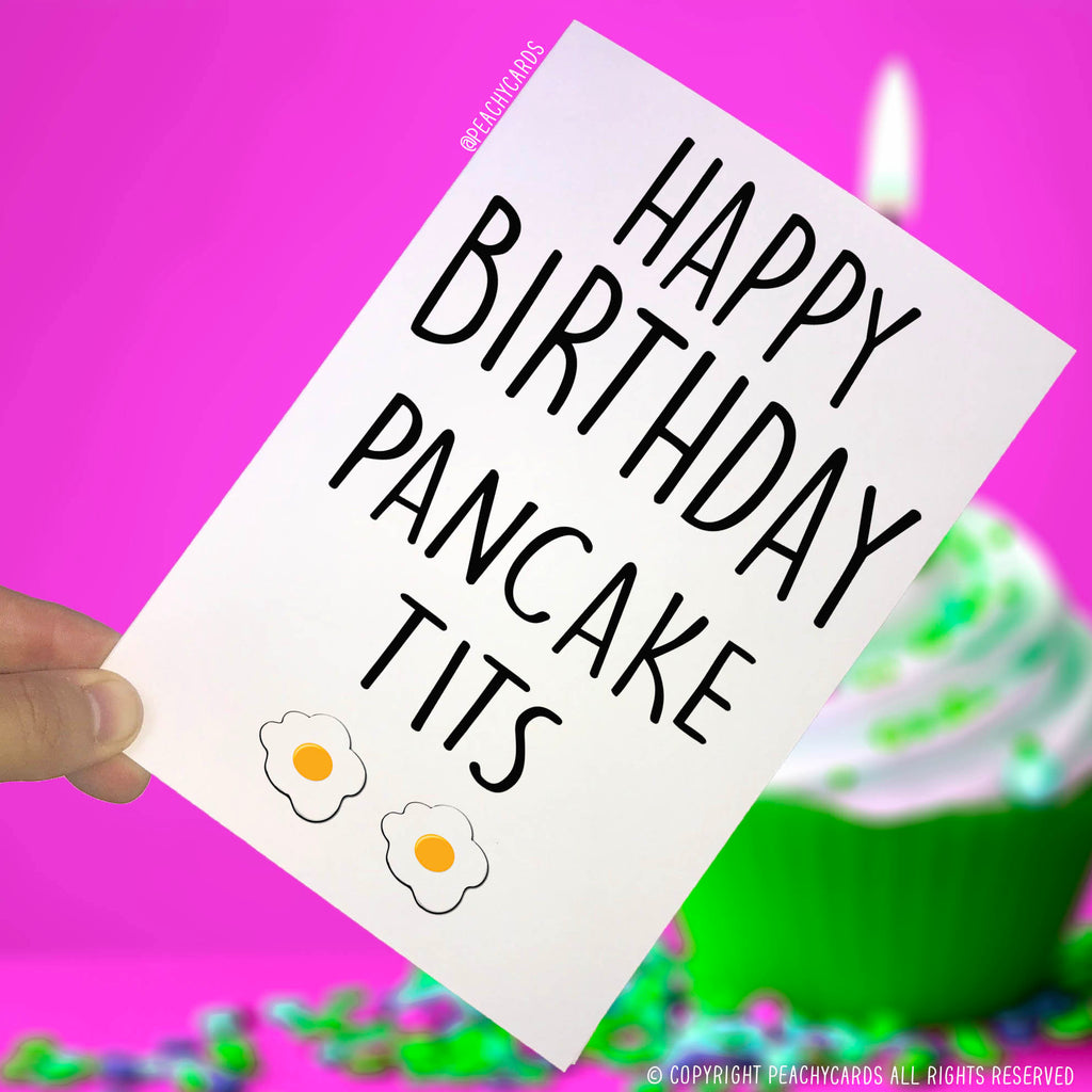 Happy Birthday Cards Pancake Tits Card Small Boobs Funny