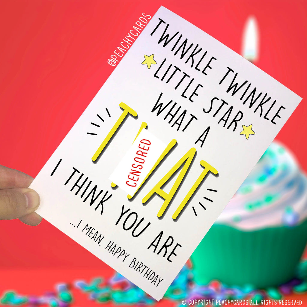 Delightful Happy Birthday Cards, Twinkle Little Star What A C*nt, Joke Cards Best  Friend