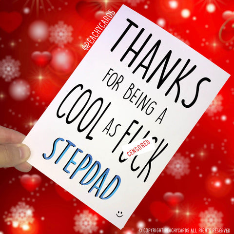 Stepdad Cards Funny Father's Day Cards Birthday Card For Stepdad Cool As F*ck Stepdad Best Stepdad Christmas Greeting Cards Mature PC327