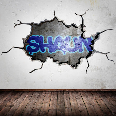 Full Colour Cracked Wall Personalised Graffiti Wall Sticker WSD154