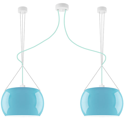 MOMO Elementary 2/S double pendant lamp, blue glossy, light blue, white