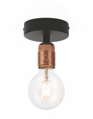 BI Elementary 1/C ceiling lamp, copper leaves and black