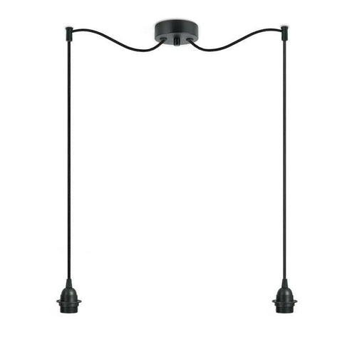 BI KAGE Decorative 2/S double pendant lamp, black, black , black