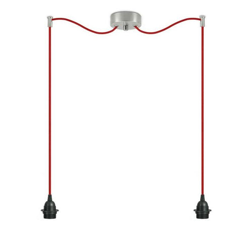 BI KAGE Decorative 2/S double pendant lamp, black, red, inox