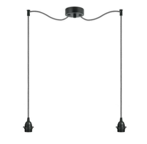BI KAGE Decorative 2/S double pendant lamp, black, black and white, black