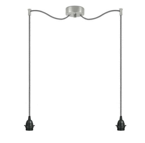 BI KAGE Decorative 2/S double pendant lamp, black, black and white, inox