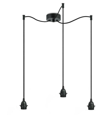 BI KAGE Decorative 3/S triple pendant lamp, black, black, black