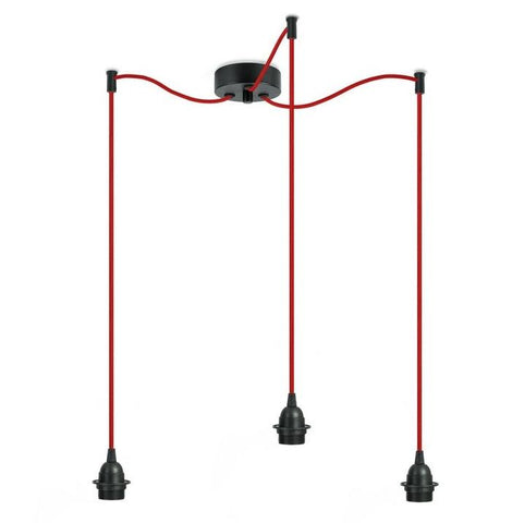 BI KAGE Decorative 3/S triple pendant lamp, black, red, black