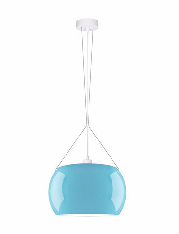MOMO Elementary 1/S single pendant lamp, blue glossy, white, white