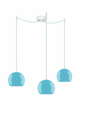 MYOO Elementary 3/S triple pendant lamp, blue glossy, light blue, white