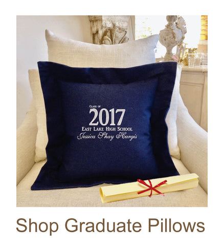Graduation Gift Pillow with Pocket | Forever Pillows Personalized Embroidered Gift