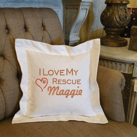 I Love My Rescue Personalized Pet Pillow Gift | Forever Pillows