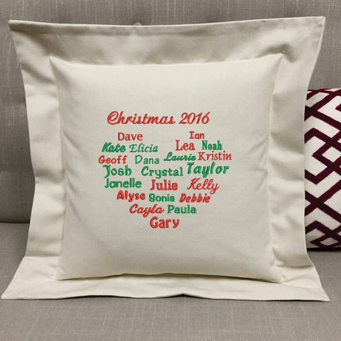 Christmas Family Heart Pillow