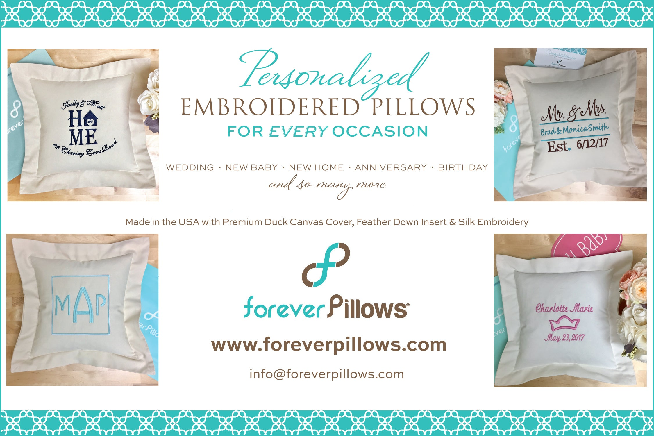 Personalized embroidered pillow gifts forever pillows personalized pillows forever pillows custom pillows negle Gallery
