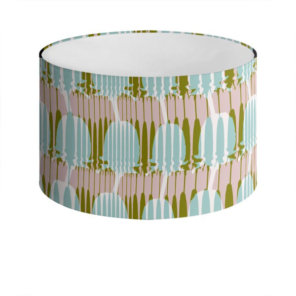 Teasel Stripe Drum Lamp Shade Khaki/Rose