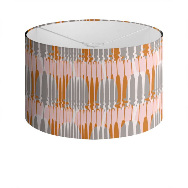 Teasel Stripe Drum Lamp Shade Rose/Rust