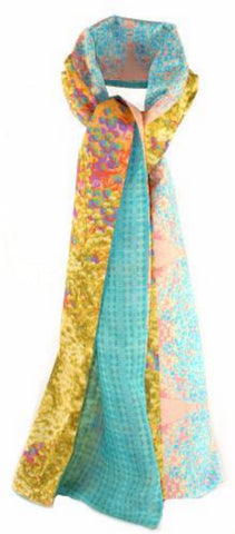 Luxury digitally printed silk and cotton scarf with a beautiful turquoise geometric and neutral ochre /rose colour floral print. Contemporary elegant neckwear, designed printed and made in the UK