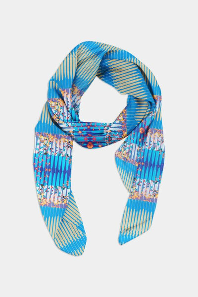 Edge of the Meadow printed silk scarf _ Blue Geo Damask
