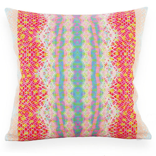 Cotton rich cushion with a elegant, vibrant, geometric print. Plain white cotton on reverse with a cleverly concealed zip. Beautiful selection of pastel blues, pinks brought to life with a bright cerise colour. Bright accents for interiors.
